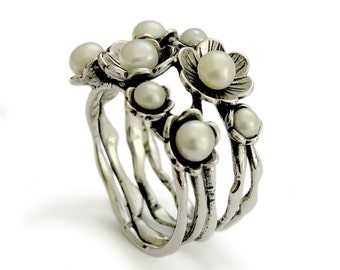 Pearl Flower ring, Silver Pearl Ring, Sterling silver Statement ring, Feminine ring, for woman,Multistone ring, Gemstones flowers ring, sale