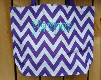 CHEVRON Purple Tote bag beach bag with Monogram (Embroidery) -Bridesmaid Gift, Teachers, Mom