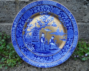 Antique James Kent ye olde foley porcelain ceramic plate flow blue Asian plate with gilt - antique rare English china plate