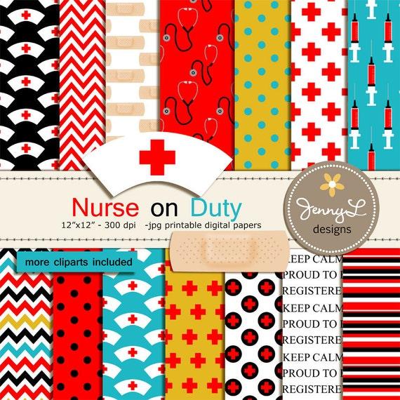 Nurse Digital Paper and Clipart Medical Syringe Blood