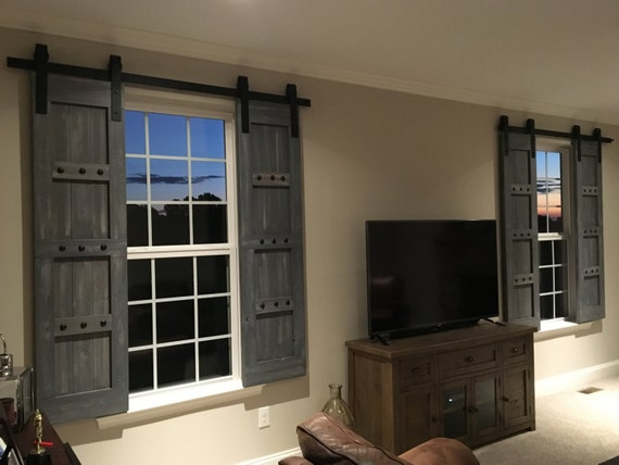 Interior window barn shutters sliding shutters barn door for Bifold interior window shutters