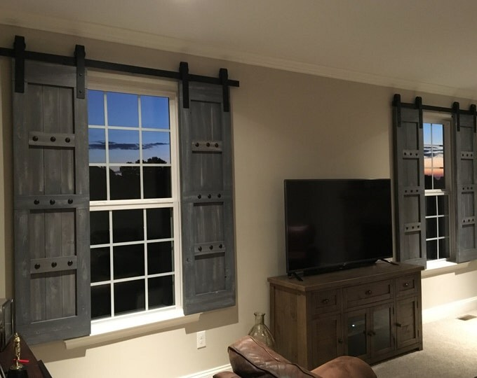 Featured listing image: Interior Window Barn Door - Sliding Shutters - Barn Door Shutter Hardware Packages Available  - Farmhouse Style - Rustic Wood Shutter