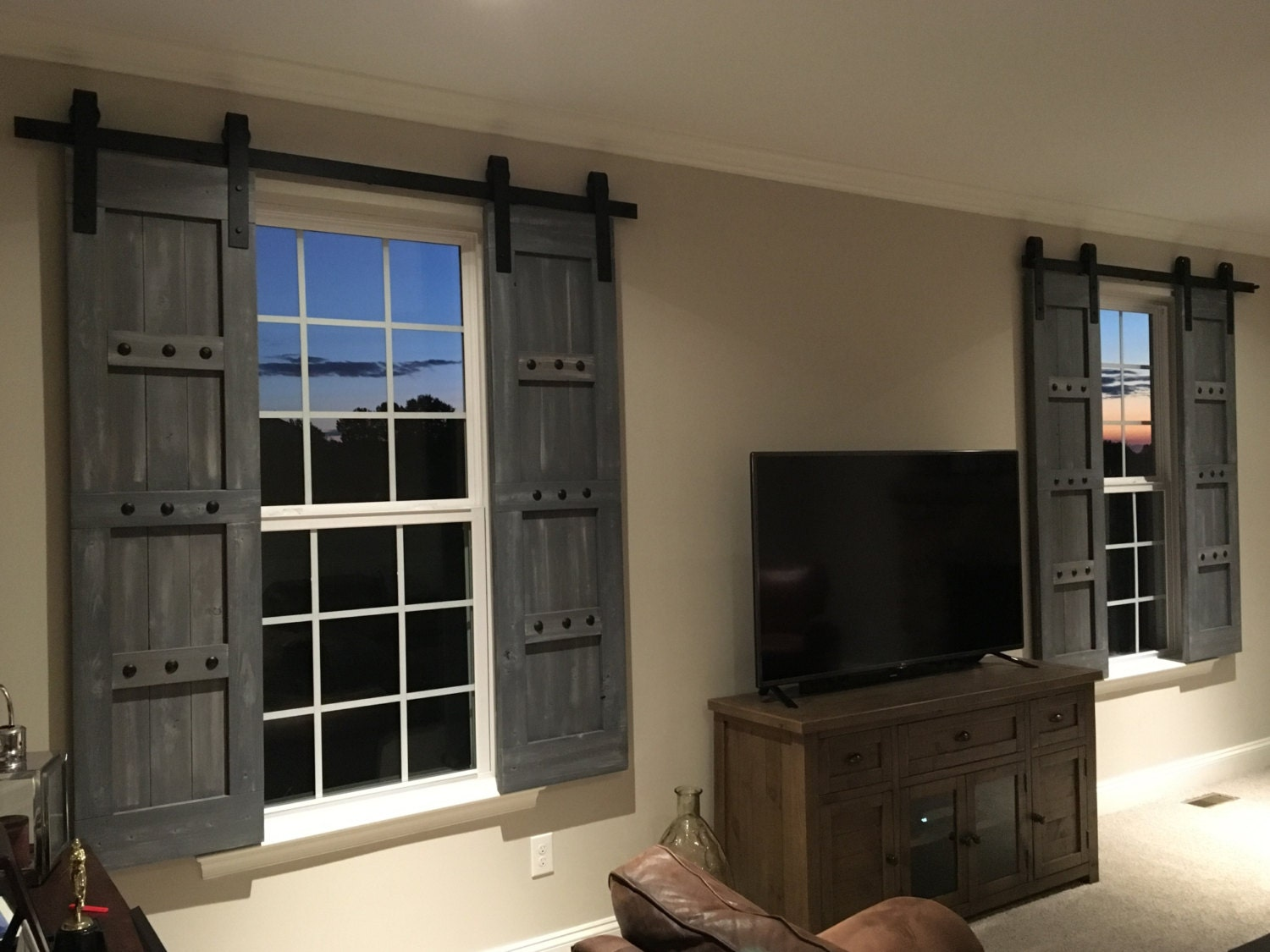 Interior window barn shutters sliding shutters barn door for Wood doors and shutters