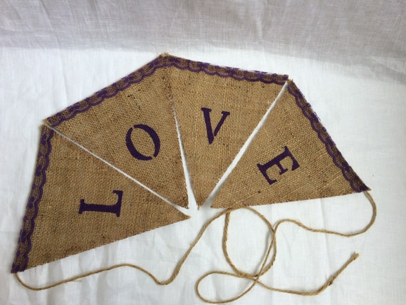 Burlap love banner with purple accents, wedding banner, engagement party banner
