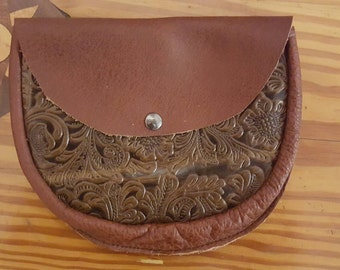 Tooled leather hip pouch