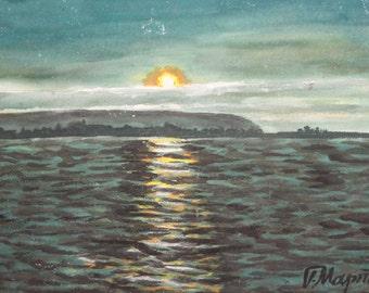Sunset seascape vintage oil painting signed