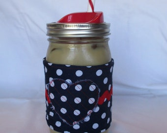 Patriotic Cup Sleeve for Quart-size Jar - Blue and White Polka Dot with Red Rick-Rack - Classy Patriotic Cup Sleeve with Polka Dot Heart