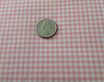 Small Pink Gingham Fabric  by the Yard, Cut from the Bolt