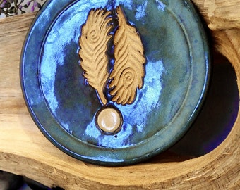 Stoneware Feather Dish