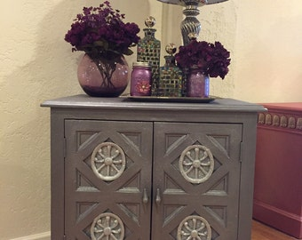 "SOLD***SOLD**SOLDMetallic Silver Cabinet/Lavendar Hue ""Free Shipping"""