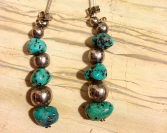 Vintage Garland's Navajo Turquoise Nugget and Silver Pierced Earrings