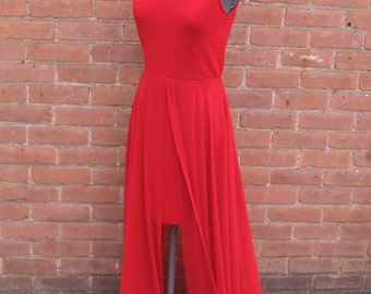 Vintage 1980's Chetta B Sherrie Bloom Peter Noviello Red High Neck Sleeveless Maxi Evening Dress Sheer Split Overskirt Size 4 Prom