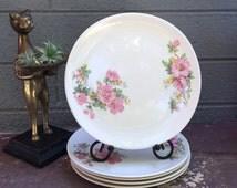 Azalea Iva-Lure by Crooksville Dessert/Salad Plates Coupe Soup Bowls 1950s American Dinnerware Bohemian Chic English Cottage Estate Decor