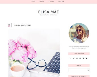 "Responsive Wordpress Blog Theme ""Elisa"" - Feminine Self-Hosted Wordpress Blog Theme"