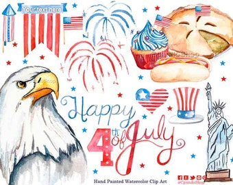 4th of July Clipart, July 4th Clipart, Fourth of July Digital Paper, USA Clipart, Independence Day Clipart, 4th July Party, watercolor clip