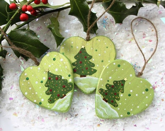 Heart wooden hanging decoration Christmas , deco party table, deco Christmas tree , Christmas tree , gift for a friend , deco to suspend