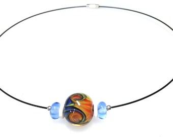 Handmade Glass Bead Necklace/Handmade Glass Beaded Light  Teal Necklace/Choker