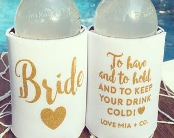 Bride Drink Cooler | Bachelorette Party Favor, White + Gold Bride Drink Cooler, Engagement Gift, Bachelorette Wedding Beer Bottle Can Holder