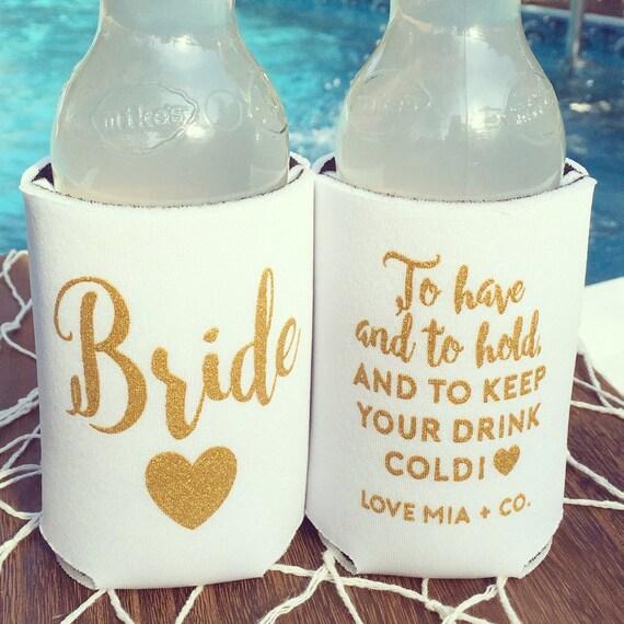NEW! Bride Drink Cooler | Bachelorette Party Favor, White + Gold Bride Cooler Gift, Beach Bachelorette, Drink Holder, Beer Bottle Can Cooler