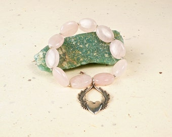 Rose Quartz Bracelet with Silver Winged Heart