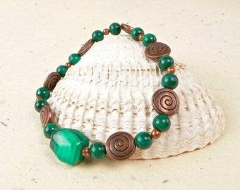 Malachite and Copper Beaded Bracelet on Festiviosity