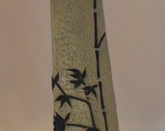 Vintage Mid Century Modern Triangular Stoneware Bud Vase w/Bamboo Design by FRANK C MANN