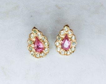 Vintage Gold, Pink, and Clear Crystal Rhinestone Stud Earrings
