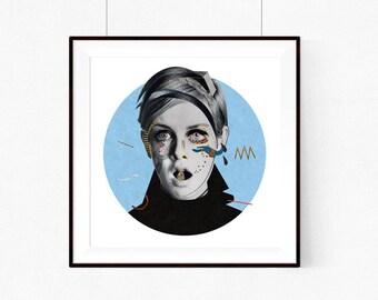 Twiggy | llustration art giclée print | illustration,print, Wall decor, signed art, wall art, portrait, poster,vintage,art A4 | A3 | A2 |
