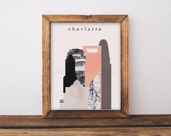 Charlotte Skyline Art Charlotte Art Charlotte Map Charlotte Print Charlotte Poster Charlotte Printable Wall Art Charlotte Postcard