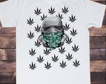 Men's White T-Shirt Storm Trooper, Bandit All over Cannabis  Print 30-41