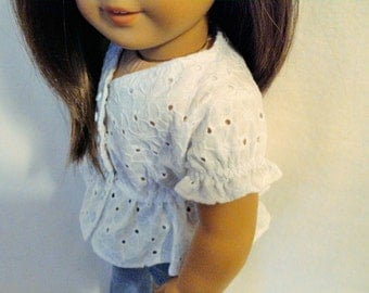 White eyelet blouse with peplum for 18 inch dolls such as American Girl