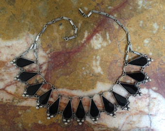 1930's/40's vintage silver and onyx Mexican bib necklace by Del Rio