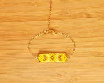 Bracelet yellow gold 14-Karat plated Cheyenne and glass Miyuki peyote weaving beads