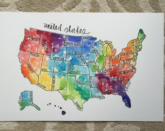 United States Map- Giclee Print