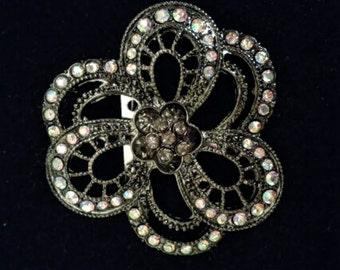 Dark flower brooch