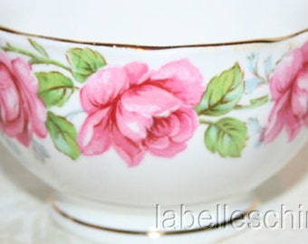 Bell China England Lady Alexander Rose Open Sugar Bowl Gilt Bone China