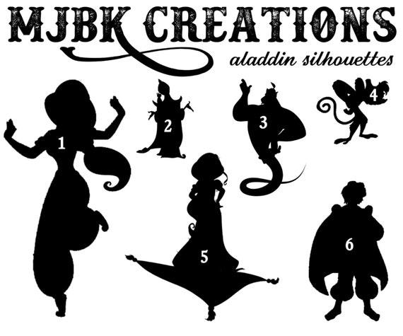 Aladdin jasmine genie abu magic carpet jafar silhouette vinyl for Aladdin and jasmine on carpet silhouette