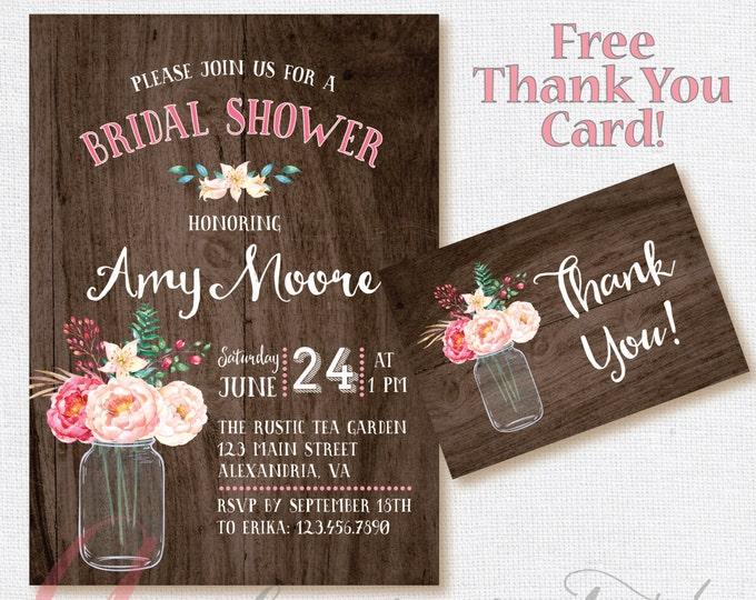 Bridal shower invitation. Rustic Bridal Shower Invitation, Mason jar Invite, Bridal Shower Printable. DIY Bridal Shower. Floral Bridal
