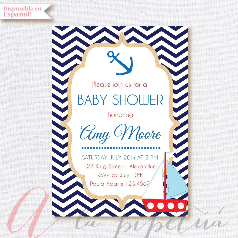 Nautical Baby Shower invitation Navy Babyshower invite