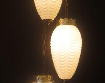 1960's Three-Tiered Teardrop Swag Hanging Lamp