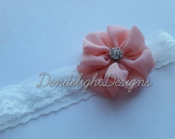 Coral Rhinestone Flower on White Lace