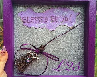 Handmade Mini Besom broom frame with Blessed Be