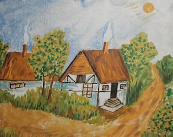 Vintage naivist oil painting village house landscape