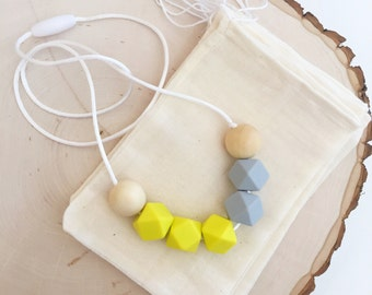Teething Necklace, Chew Bead Necklace, Mommy Necklace,Nursing Necklace, Yellow and Grey Silicone Bead Necklace. - Willa