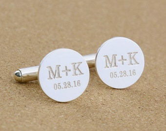 Personalized Wedding Cufflinks,Groom Cufflinks,Engraved Cufflinks With Date and Initials ,Engraved CuffLinks,Monogrammed Cufflinks,Men Gift