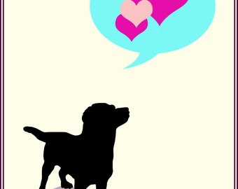 Dog with Love-   Hello, Get Well, Anniversary, Birthday, I Love You  Card