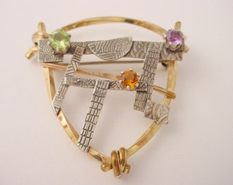 Shield Shaped Pin with Gold Filled Wire , Textured Sterling, and Peridot, Amethyst, and Citrine