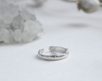 SALE! Sterling Silver Adjustable Kawaii CAT Ring, Cat Ring, Silver Ring
