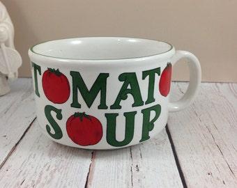 Tomato Soup Mug,extra large,soup cup,vintage soup bowl,stoneware mug
