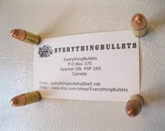 Bullet Fridge Magnets, Bullet Refrigerator Magnets, 9mm Luger Brass, Package of 4 Bullet Fridge Magnets